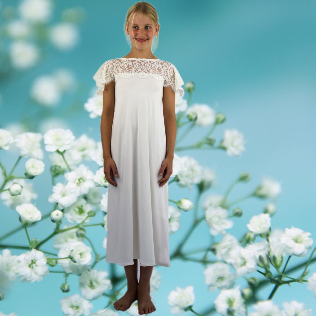 festliches Mädchenkleid mit Spitzenschulter
