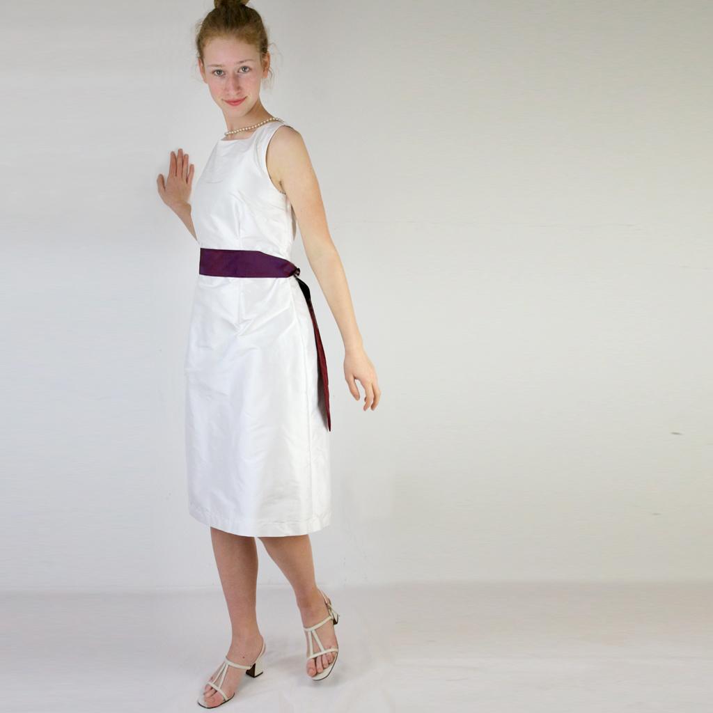 weißes Dupionseidenkleid für die Hochzeit