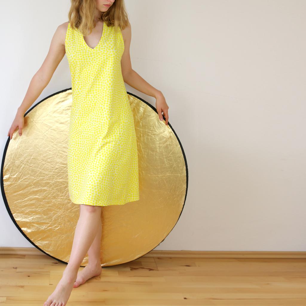 Sommerkleid in gelb, super bequem und weich auf der Haut. localbrand ma-eins aus München