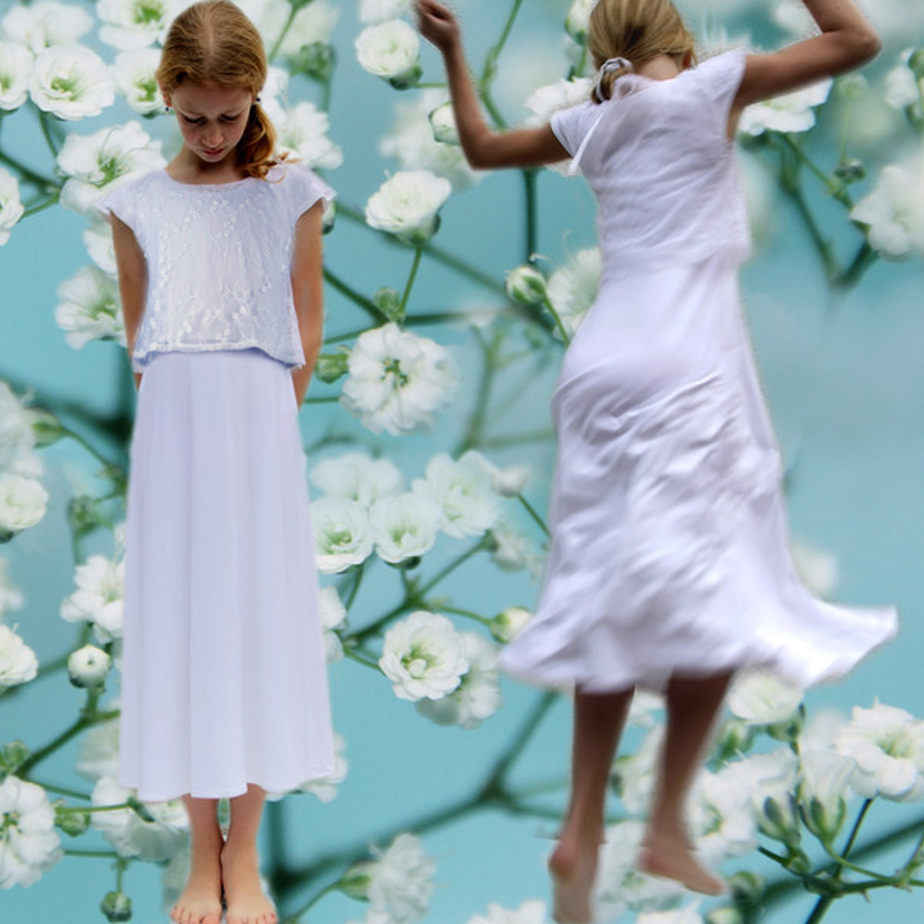 Kommunionkleid für kleine Tänzerinnen. Localbrand ma-eins fertigt schlichte schöne Kommunionkleider in München an.