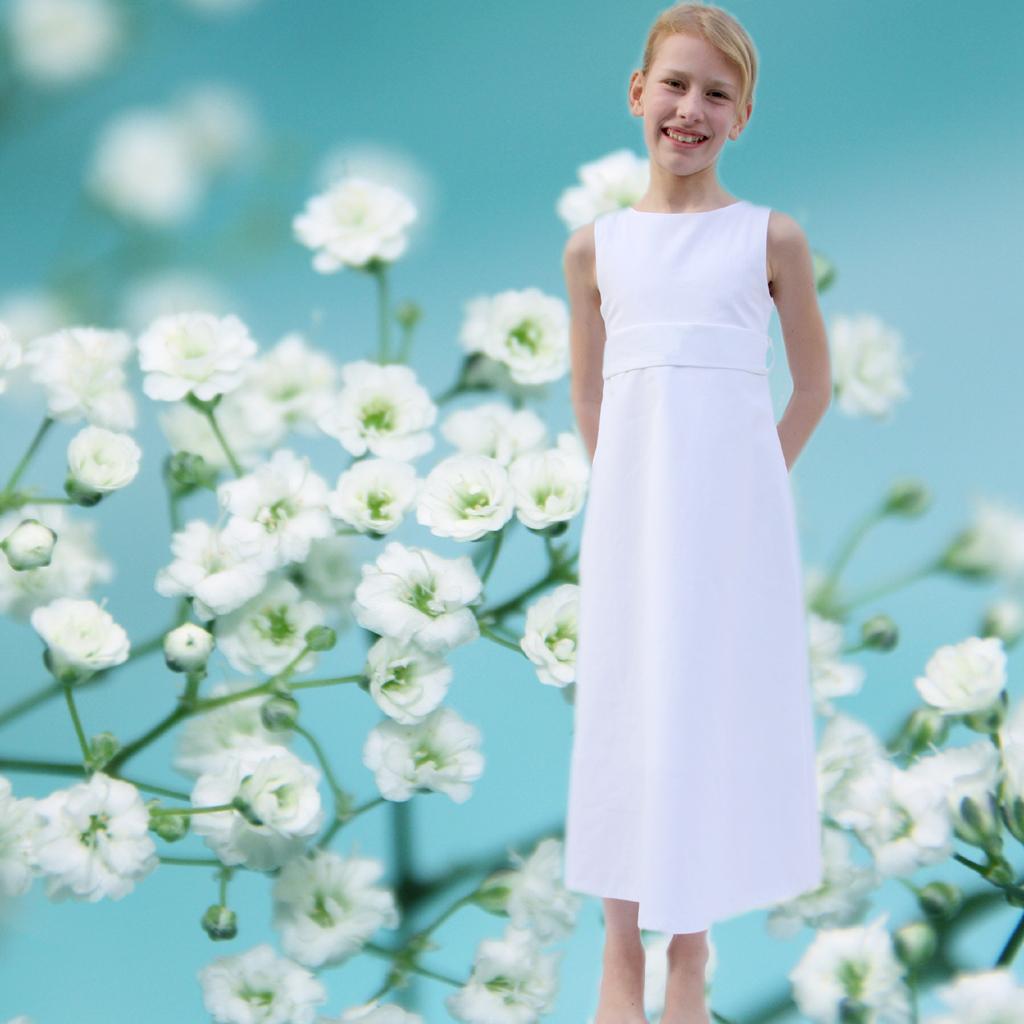 schlichte Kommunionkleider aus München. weiße lange Mädchenkleider für die Kommunion2020.