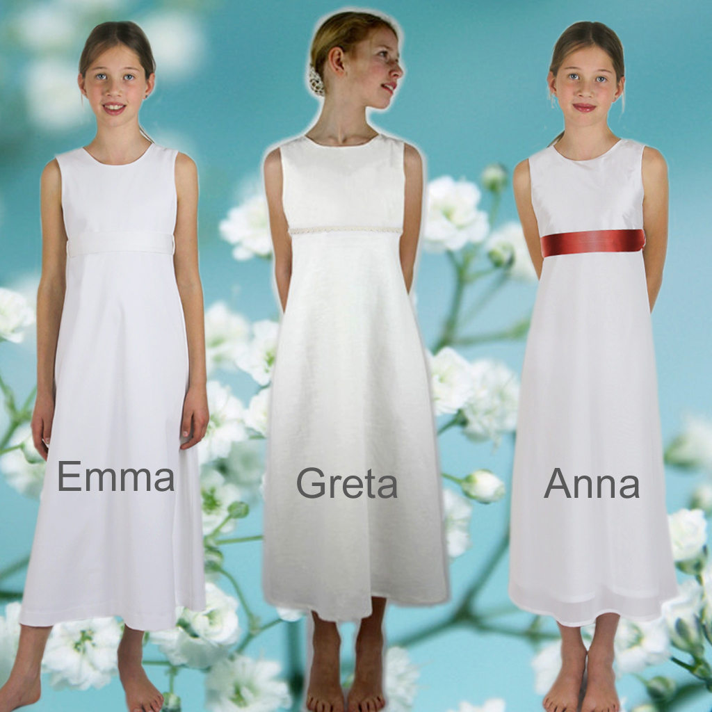 schlichte schöne Kommunionkleider für natürliche Mädchen. In München produziert und zum kaufen im Atelier ma-eins.