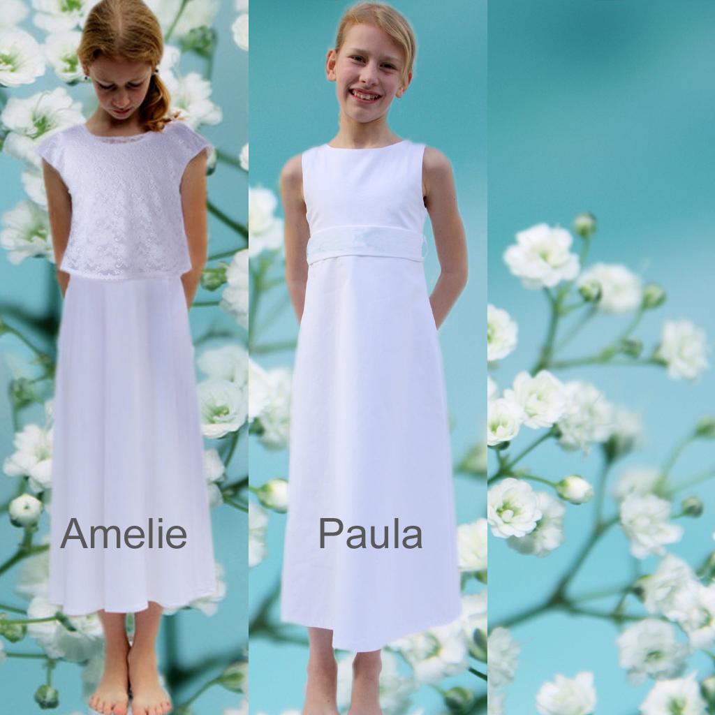 Kommunionkleider für sportliche Mädchen. Mit diesen Kommunionskleider kann man auch im Garten toben. Angefertigt in München und deutschlandweit versendet.