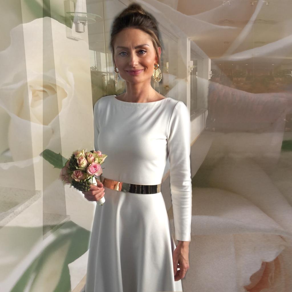 Ein pures schlichtes Standesamtkleid, das sich nach der Hochzeit weiter tragen lässt. Nachhaltige Brautkleider aus München. Im Atelier ma-eins fertige ich dir dein Brautkleid nach deinen Wünschen an.