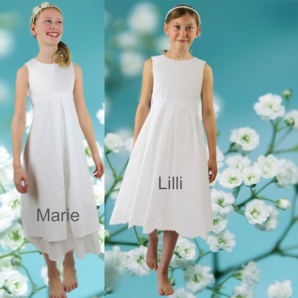 Natürliche Kommunionkleider aus Baumwolle. Online bestellen und in München angefertigt. Das Label ma-eins stellt schlichte schöne Kommunionskleider für Mädchen her.