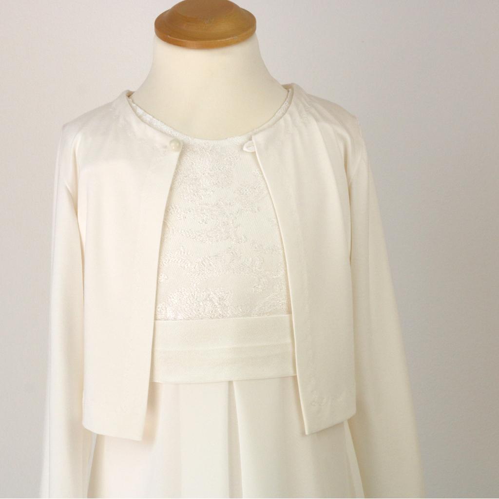 die schlichte elegante Kommunionjacke, die auch als leichte weiße Sommerjacke getragen werden kann.