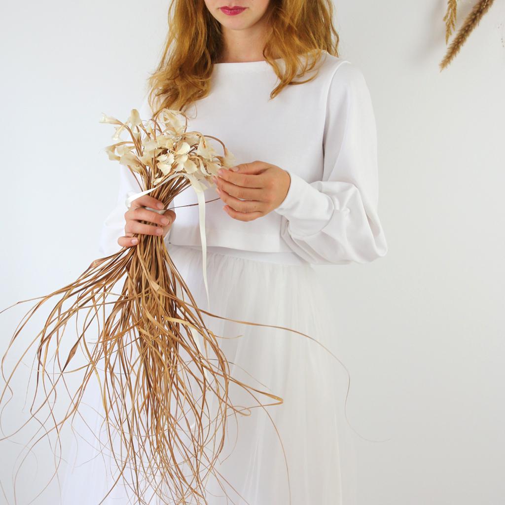 kurzer Brautpullover in Biobaumwolle in weichem Jersey aus dem Atelier ma-eins