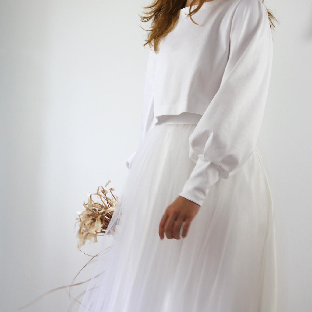 weißer Pullover für die Hochzeit Atelier für zweiteilige Brautkleider